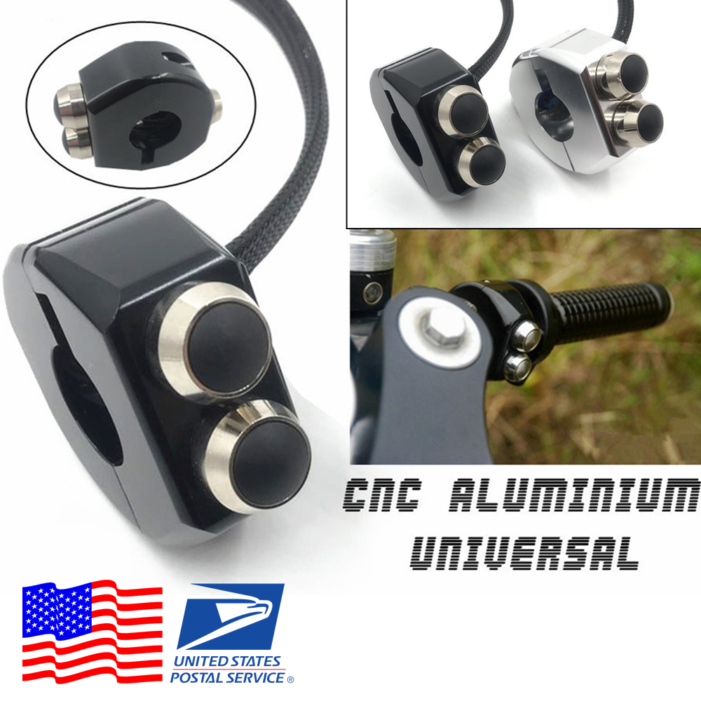 Aluminum 22mm Motorcycle Handlebar LED Light Button Switch Self-locking