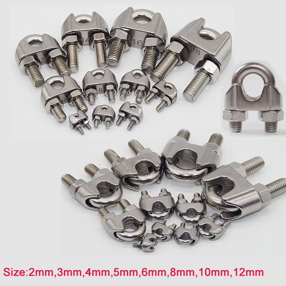 Wire Rope Grips Clamps Cable U Bolts Heavy Duty Stainless Steel Silver