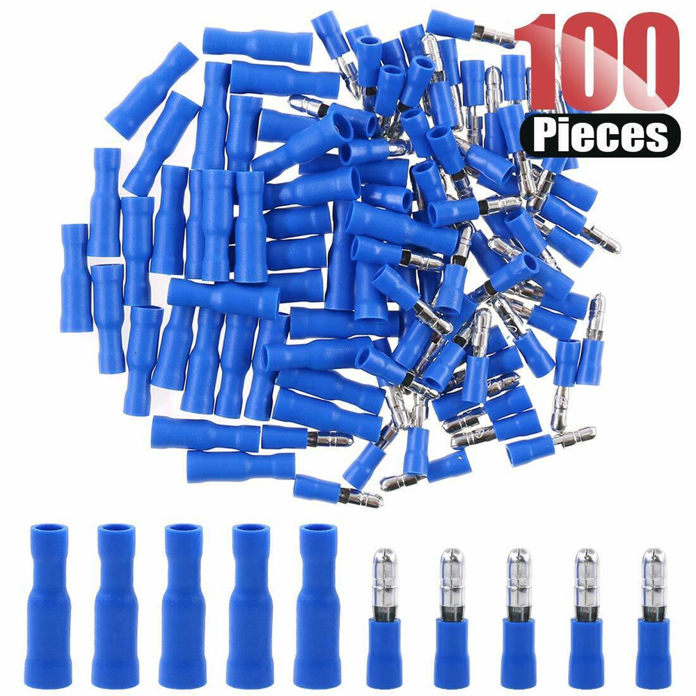 50Pairs//100Pcs Blue Insulated Bullet Butt 16~14AWG Wire Crimp Terminals