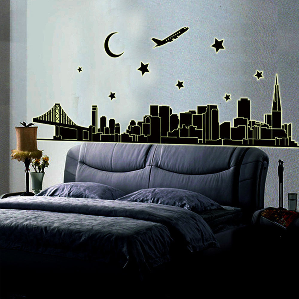 Removable Wall Sticker New York Skyline City Night Glow In The Dark