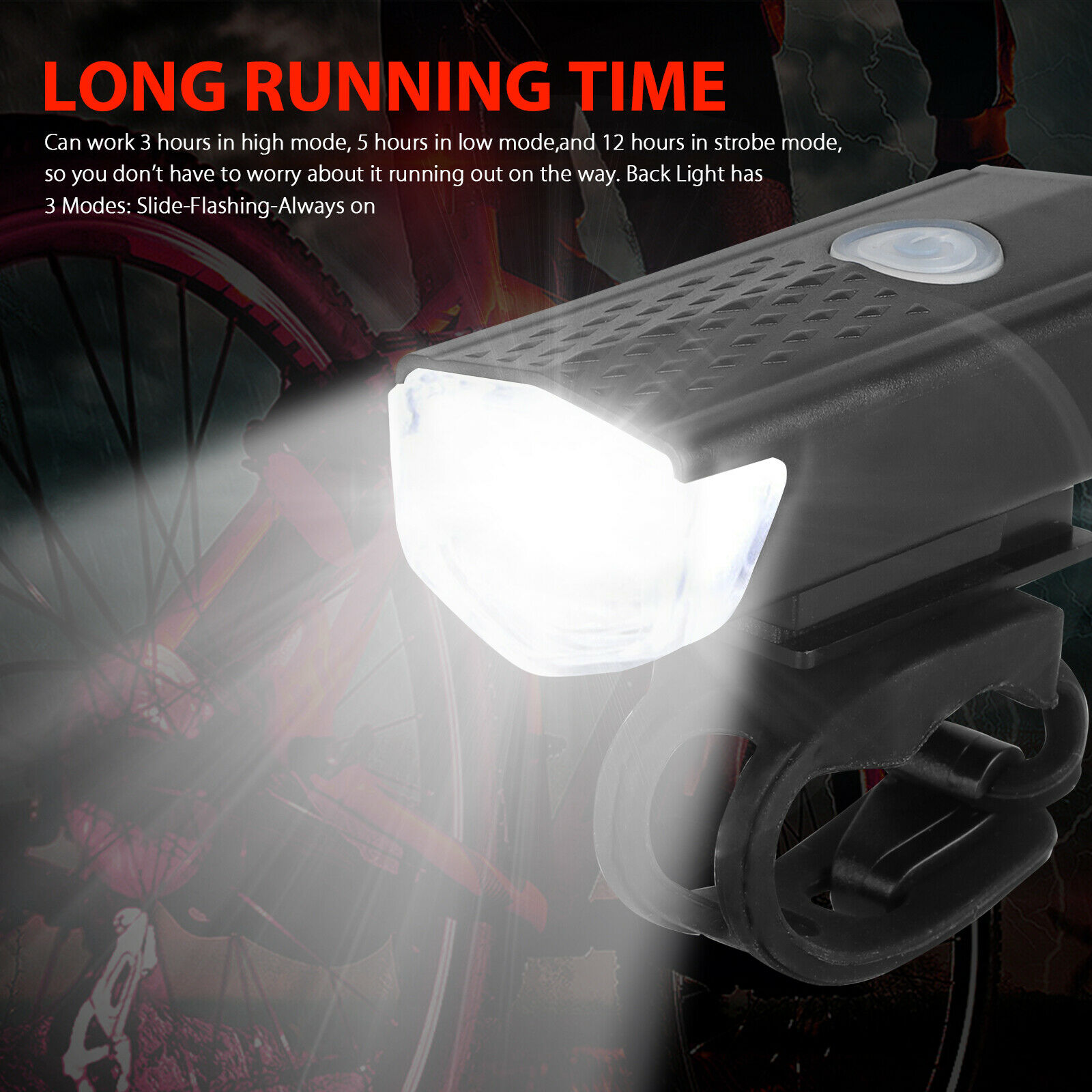 USB Rechargeable LED Bicycle Headlight Head IR Light Front Rear Lamp Cycling USA