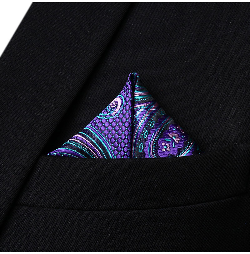 HP923M Red Green Paisley Men Silk Party Handkerchief Pocket Square Hanky