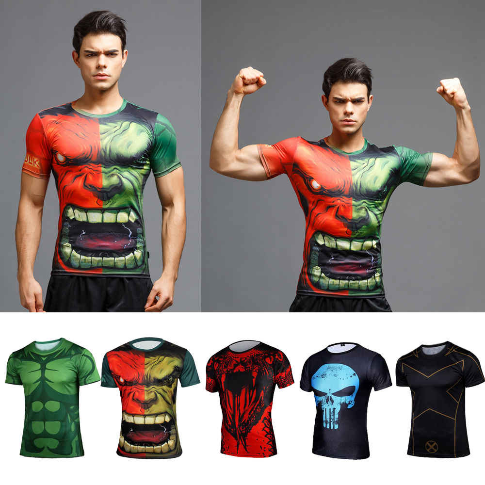 Super héros Marvel Compression Tee T-shirts à manches longues Cyclisme Sport Jersey Hulk