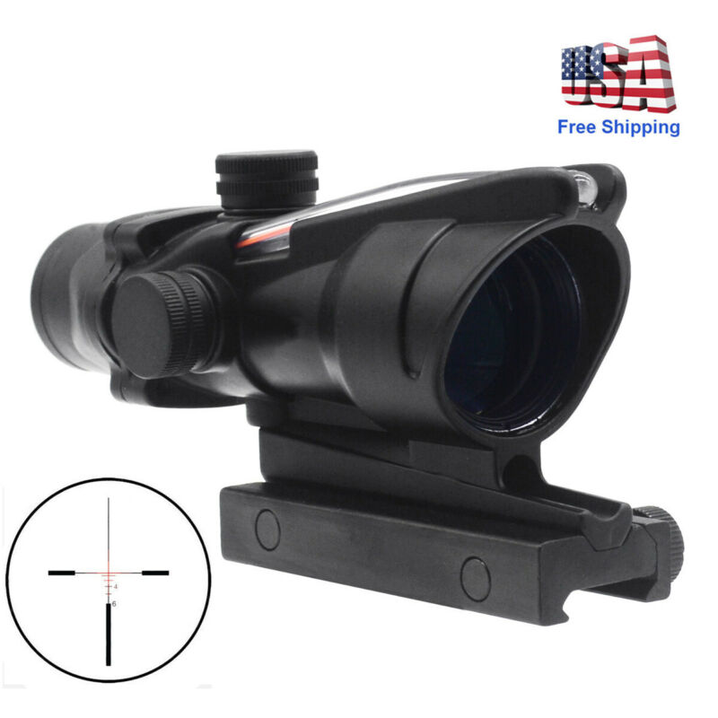 4X32 ACOG Scope Optics Sight Tactical Scope Cross-Reticle Real Red//Green Fiber