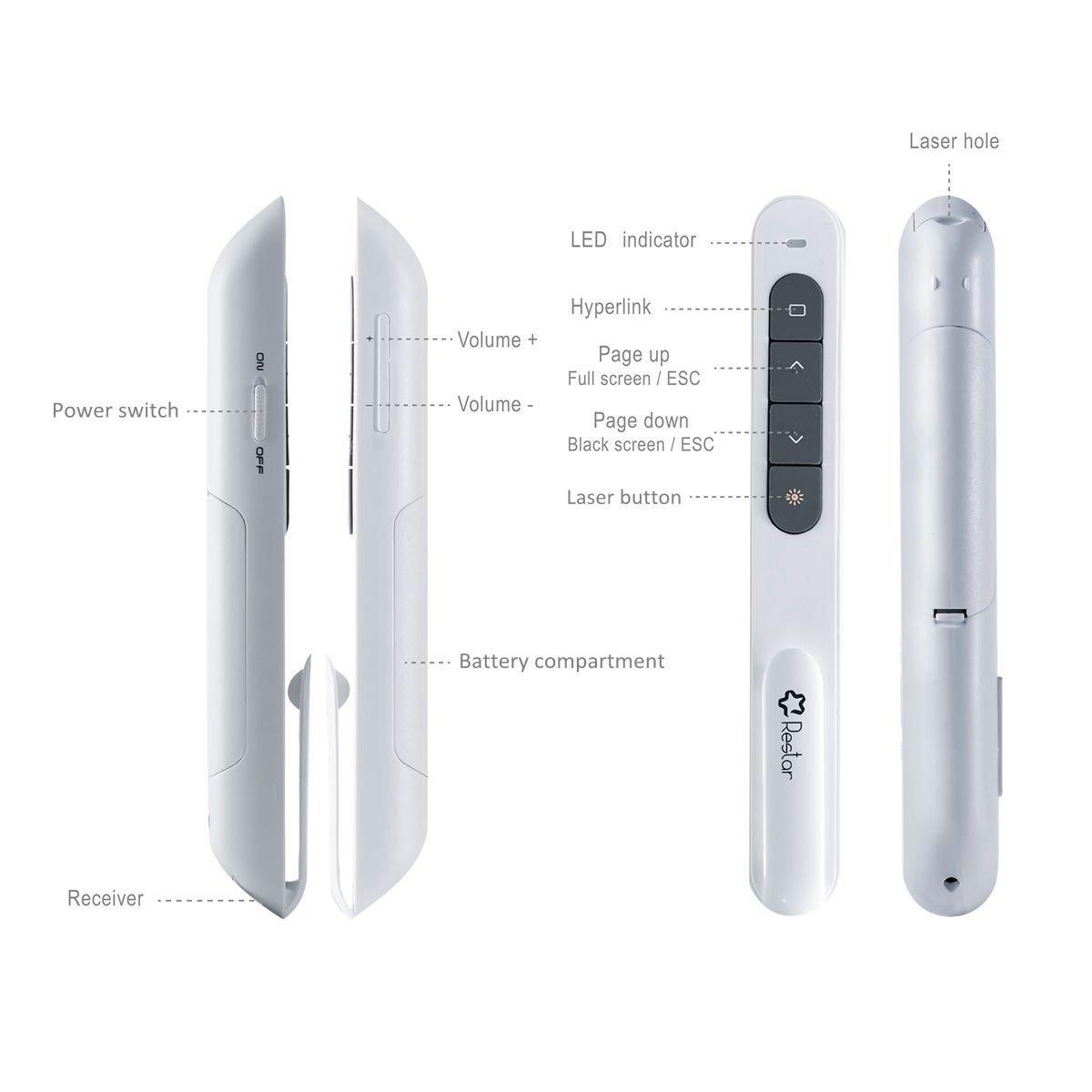 Wireless Laser Presenter Restar 24ghz Usb Powerpoint Pointer Presentasi Presentation Remote Control Clicker