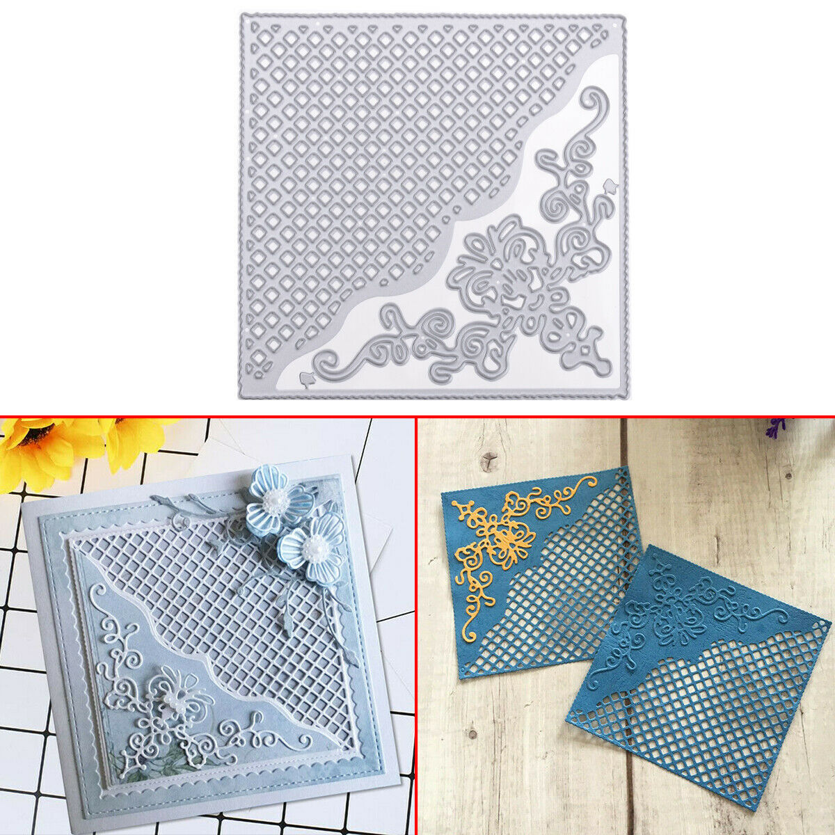 DIY Craft Invitation Card Lace Square Card Making Birthday Card Square Cutting Dies Embossing Stencil for Scrapbooking