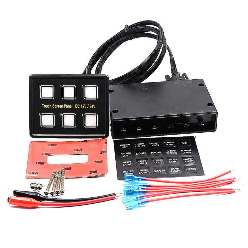 6-fach LED Touchpad Boot Auto Schalttafel Schalter Elektrosteuerung Relaiskasten