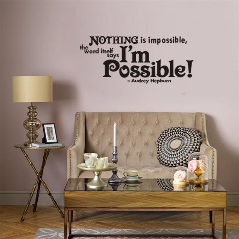 Wall Sticker Nothing Is Impossible Audrey Hepburn Wall Home Decals