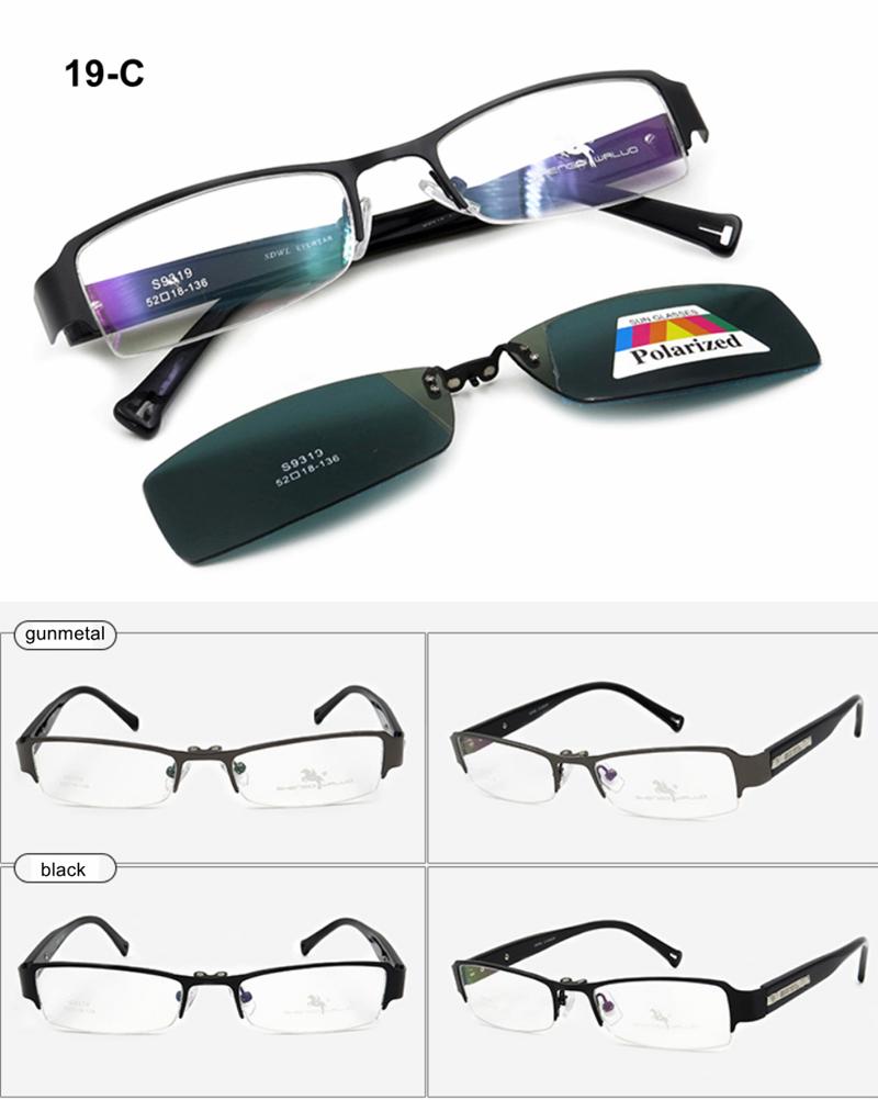 Rectangular Metal Eyeglass Frames Clip-on Magnet Polarized Sunglasses UV LFA832