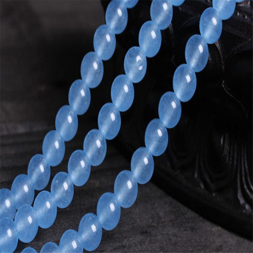 "6mm 8mm 10mm 12mm Blue Brazilian Aquamarine Quartz Gems Round Loose Beads 15/""AAA"